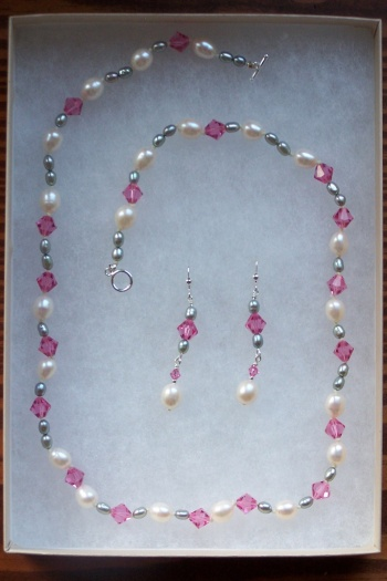 pearl and crystal necklace and earrings