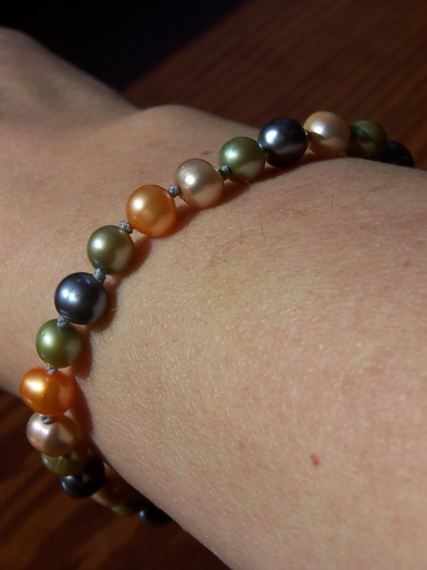close-up of pearl bracelet