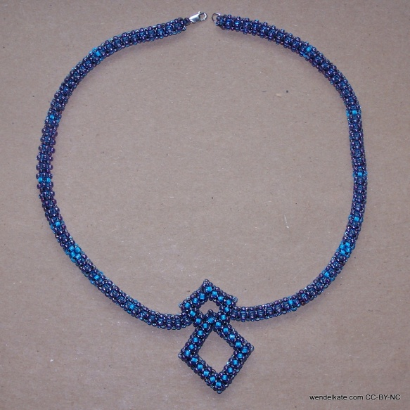 Cubic right angle weave pendant necklace