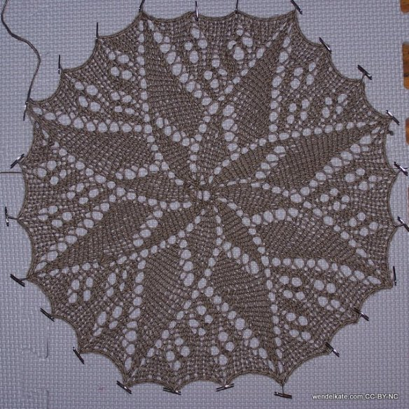 Myra doily being blocked